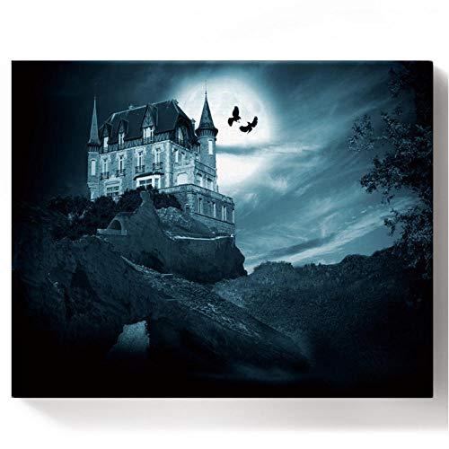 Farben nach Zahlen Halloween Hexe Mondburg Fledermaus Horror Ölgemälde nach Zahlen Set Geschenk Färbung nach Zahlen Leinwand Wanddekoration 40 * 50cm (Rahmenlos)