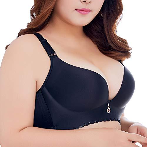 Ohrwurm Women Push Up Minimizer Bra Plus Size Wire Free Bra Black 46C