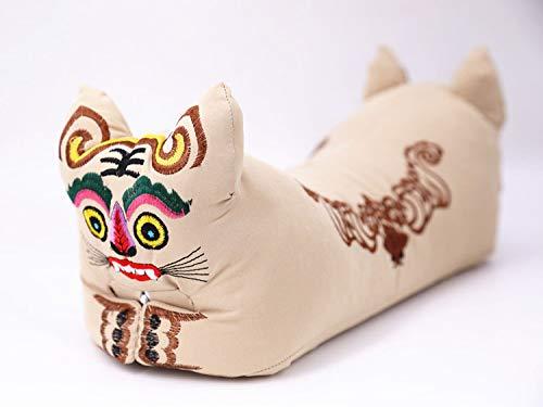malyituk Almohada de Cabeza de Tigre Almohadas de Regalo de Tigre Bordadas Núcleos de alforfón Almohada de Cabeza de Salud Cervical