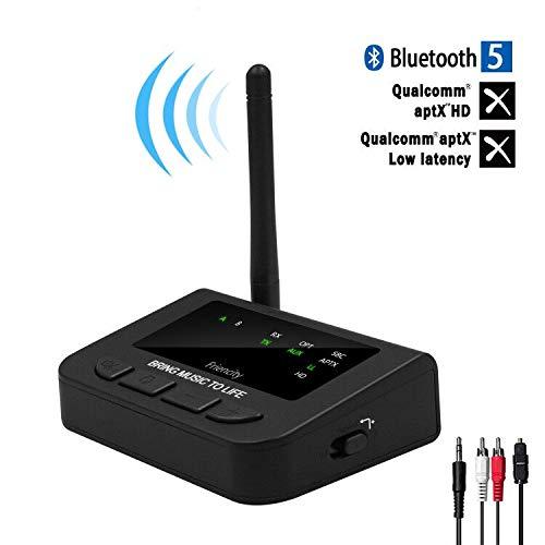 Friencity 265ft Longue Bluetooth 5.0 Récepteur 3 en 1 d'émetteur Adaptateur Audio Pass-Thru AptX HD Faible Latence, Optique numérique aux 3,5 mm RCA Jack pour la télé,Lecture Continue et reconnexion
