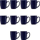Curved Java Coffee Mug Set - 10 Pack - 12 Oz. - Stoneware Restaurant Cups - Cobalt Blue