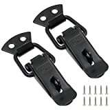 Zorfeter Stainless Steel Spring Loaded Toggle Lock Clasp Buckle Latch for Cabinet Boxes Suitcase with Mounting Screws, Black, Pack of 2