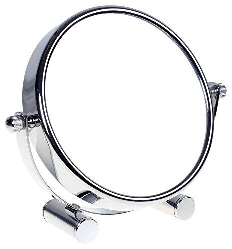 HIMRY Miroir cosmétique sur Pied, Grossissement x5, Compact Miroir de Table, 6 inch, orientable sur 360°, 100% et 500%, Chrome, Miroir de Ø 15,3 cm, KXD3142-5x