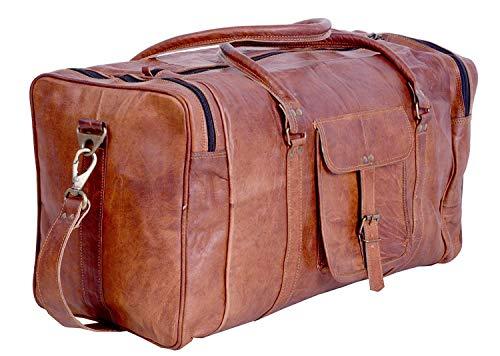 "Men/'s Brown Vintage Genuine Leather 22/"" large Travel Luggage Duffle Gym Bags"