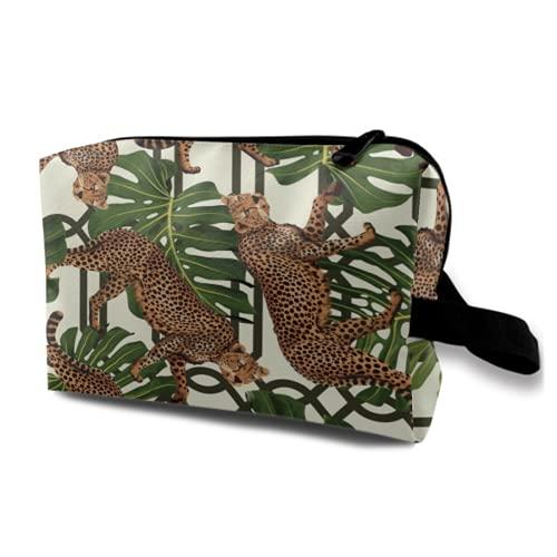 Neceser Colgante de Viaje,Trópico Transparente con guepardos y Hojas Tropicales,Organizador de Maquillaje cosmético Bolsa de higiene y Organizador de Ducha