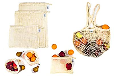 Eco-Friendly Reusable Cotton Produce Bags, Grocery Bag Set of 8