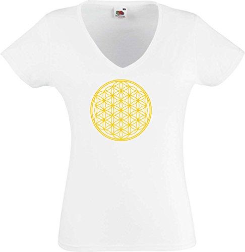 Black Dragon - T -Shirt Damen - Party - Funshirt - Fasching weiß mit Gold Audruck - Blume des Lebens - Ornament - S