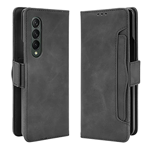 Larook Hülle für Samsung Galaxy Z Fold 3 5G, Viele Arten Pattern Flip Hülle Brieftasche Hülle Mit Standfunktion & magnetischer Geschlossen-Schutzhülle Samsung Galaxy Z Fold 3 5G.1 Schwarz