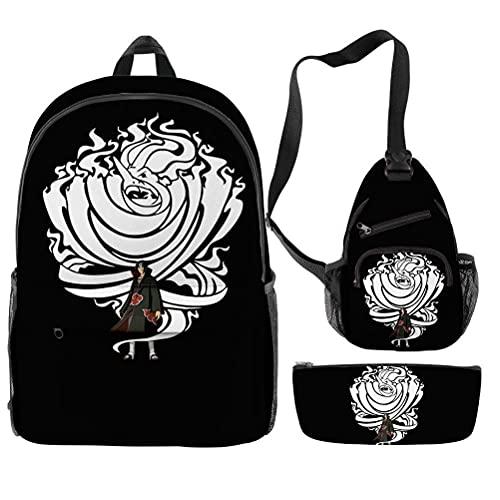 Zaino scolastico unisex, borsa a tracolla per uomo e donna, borsa messenger per sport, viaggi e jogging, impermeabile, casual per ragazze con astuccio