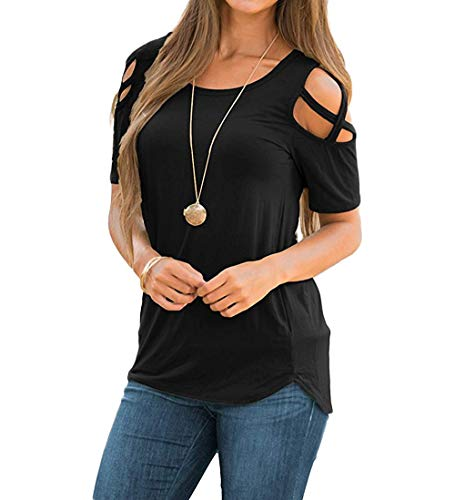 CLOUSPO Damen Oberteil Sommer Kurzarm T-Shirt Schulterfrei Strappy Ärmel Rundhal Lässige Tunika Top(Verpackung/MEHRWEG) (EU L/CN XL, Schwarz)