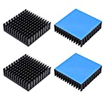 4pcs Aluminum Heatsink 40x40x11mm / 1.57x1.57x0.43inches for Electronic Chip Cooling with Thermal Conductive Double Sided Tape