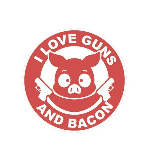ION Graphics I Love Guns and Bacon Sticker Die Cut Decal 2a Gun Rights Humor Pig 5' Bumper Locker Laptop Window - Sticks to Any Surface