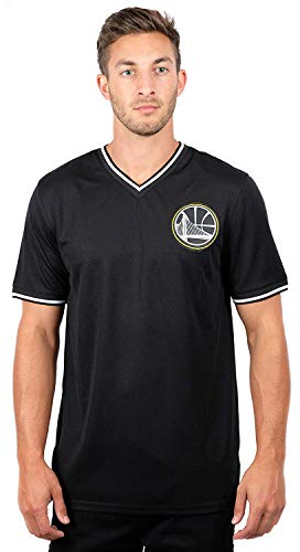 Ultra Game NBA Golden State Warriors Mens Jersey V-Neck Mesh Short Sleeve Tee Shirt, Black, X-Large