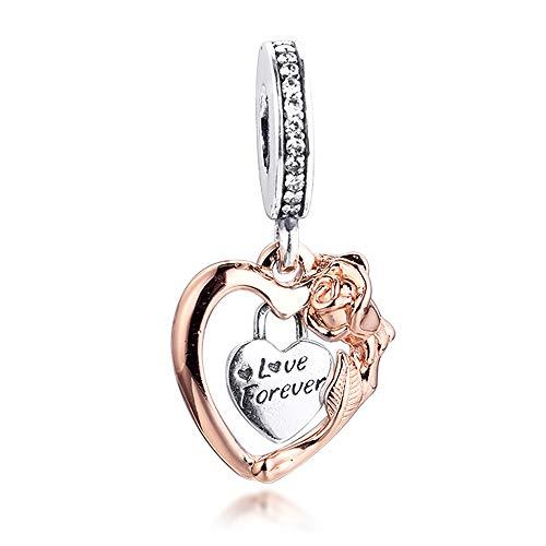 BAKCCI 2021 regalo del día de San Valentín amor para siempre corazón y rosa flor colgante plata 925 DIY se adapta a pulseras originales Pandora encanto joyería de moda