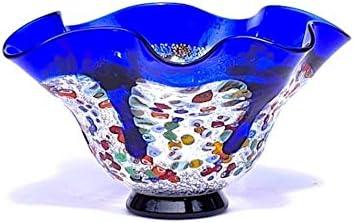 YourMurano Cuenco de cristal de Murano, centro de mesa de cristal moderno, fabricado en Italia, vidrio soplado, diseño moderno, hecho a mano, 100% marca de origen garantizada, Azelf