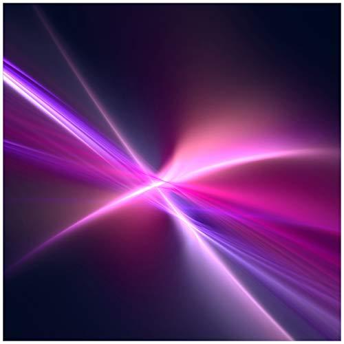 Wallario Glasbild Abstrakte Formen und Linien, schwarz lila pink weiß - 50 x 50 cm in Premium-Qualität: Brillante Farben, freischwebende Optik