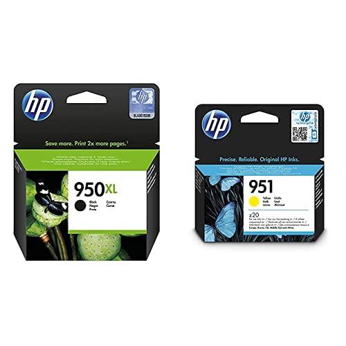 HP 950Xl Cn045Ae Negro, Cartucho De Alta Capacidad Original, De 2.300 Páginas + 951 Cn052Ae, Amarillo, Cartucho De Tinta Original, De 700 Páginas