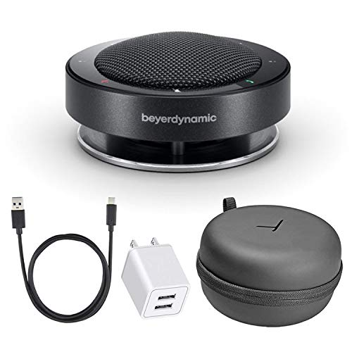 Beyerdynamic Phonum Wireless 360° Bluetooth Speakerphone Office Phone Bundle with Hard Case, USB-C Cable, USB Wall Adapter and Additional Protection Plan