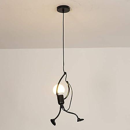 Moderne et Charmant Suspendus Creative Iron Man Dessin animé Lampe Suspendue Élégant Suspendus Enfants Chambre Chevet Salon Balcon Étude Mignon Lustre