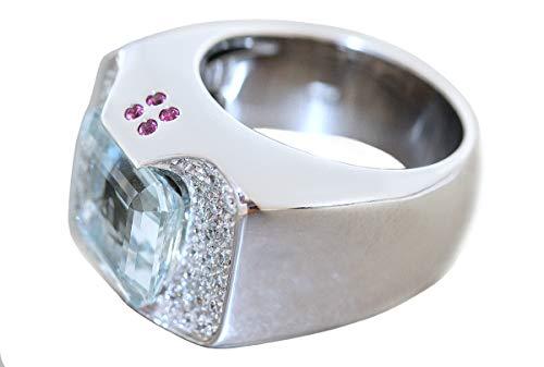 Hobra-Gold Anillo de oro blanco 750 aguamarina brillante rubí oro blanco anillo de diseño para mujer 20 gr