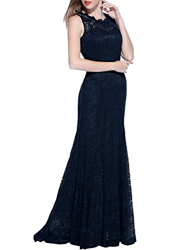 Miusol Damen Kleid Elegant Spitzen Sommer Rueckenfrei Aemerlos Langes Fishtail?Brautjungfer Cocktailkleid Dunkelblau Gr.L - 5