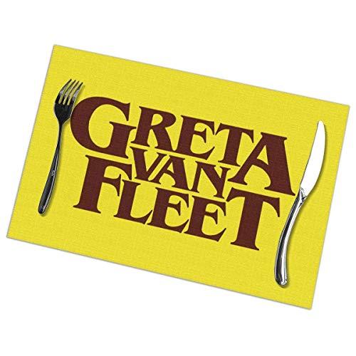 gshihuainingxianruanchaos Set di 6 tappetini da tavola in Oro Antico con Logo Greta Van Fleet Set di 6, tovaglie e tovagliette da Cucina Set Lavabili 18 'X 12'