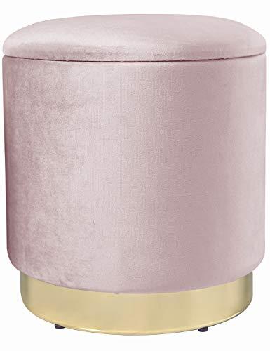 Zedelmaier Zylindrischer Samt Aufbewahrungshocker,Ottoman,Fußbank Hocker,Aufbewahrungsbox Hocker,Maximale Belastung 150kg,Größe 37x37x41.5cm(Pink)