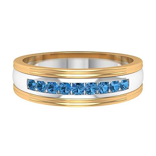 1/4 CT creado en laboratorio Ártico azul zafiro banda, joyería minimalista para mujeres (calidad AAAA), 14K Oro amarillo, Size:EU 67