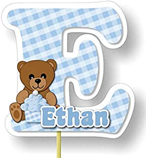 Personalized Teddy Bear Baby Shower or Birthday Cake Topper or Table Centerpiece for Boy - Optional Decorations Invitations, Sign, Favor Tags or Stickers, Thank Yous - Handmade in USA - BCPCustom