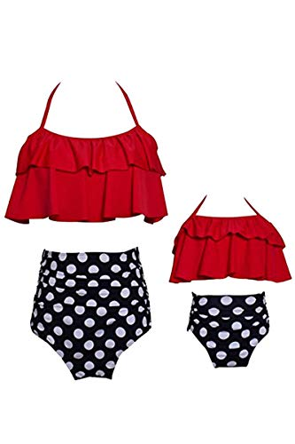 YMING Matching Mama Daughter Swimsuits Halter Neck Two Piece Swimwear Red Mom M