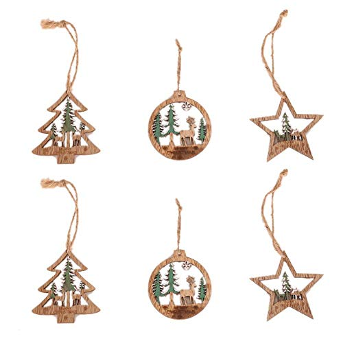 Preisvergleich Produktbild iBàste Weihnachtsbaum dreidimensionale Hohle Rotwild-hängende Farben-hölzerne runde Verzierung 6PCS