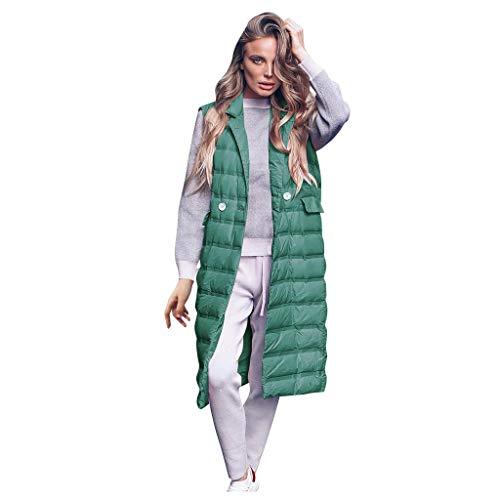 LeeMon Damen Schlank Elegant Daunenweste, Damen Weste Lang Mantel Outwear Ärmellose mit Kapuze Steppweste Wintermantel Vest