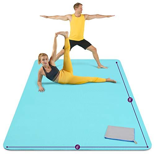 Large Yoga Mat 8'x6'x8mm Extra Thick, Durable, Eco-Friendly, Non-Slip & Odorless Barefoot Exercise and Premium Fitness Home Gym Flooring Mat by ActiveGear - Light Blue