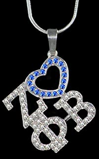 Zeta Phi Beta Sorority (ZPB) Sorority Color Crystal Heart Necklace