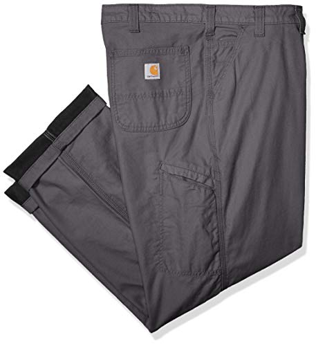 Carhartt Men's Rugged Flex Relaxed Fit Canvas Flannel-Lined Utility Work Pant, Gravel, 38W X 30L