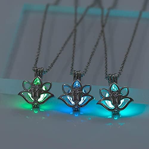JIUXIAO Tres Colores Que Brillan en la Oscuridad medallón de Flor de Loto Moonstone Colgante Hueco Collar para Mujeres Yoga oración Budismo joyería