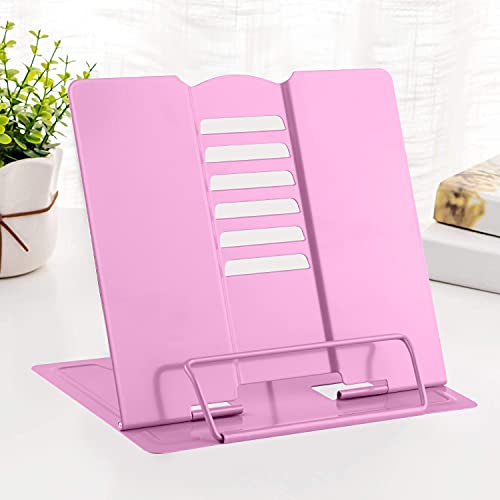 MSDADA Book Stand Metal Reading Rest Book Holder Adjustable Cookbook Documents Holder Portable Sturdy Bookstands for Recipes Textbooks with Page Clips Birthday Gifts for Girls Mom Students(Pink)