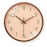 アナログドームガラスの壁時計10インチの静かな木製の壁時計電池式の簡単な掃引いいえティックトック装飾