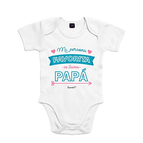 SUPERMOLON Body bebé algodón Mi persona favorita se llama Papá 3 meses Blanco Manga corta