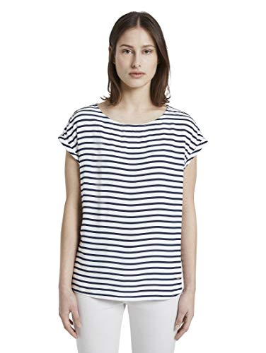 TOM TAILOR DENIM Blusen, Shirts & Hemden Gemustertes T-Shirt mit Cut-Out Navy White Stripe, L