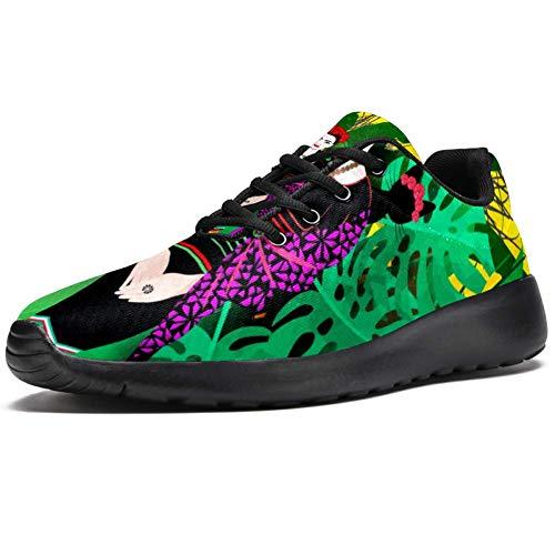 TIZORAX Sport-Laufschuhe für Frauen Frida Kahlo mexikanische Frau mit tropischen Blättern Papagei Mode Sneaker Mesh atmungsaktiv Walking Wandern Tennis Schuh, Mehrfarbig - mehrfarbig - Größe: 36.5 EU