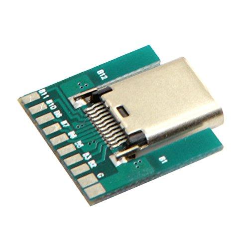 Cablecc DIY 24pin USB 3.1 tipo C macho y hembra enchufe y zócalo conector tipo SMT con PC Board 1 Set Cablecc