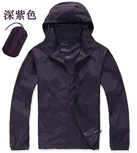 Yanshan Outdoor-Männer und Frauen Hautmantel der Haut Kleidung im Freien Kleidung dünn und leicht schnell trocknend Sonnenschutz Kleidung Arbeitskleidung Fischerei (Color : Deep Purple, Size : XS)