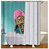 MSK BS Cartoon Shower Cat Bathing Decor Bathroom Shower Curtain 3D Printing Funny Animal Cat Shower Curtain Sets Bathroom Decor with Hooks Waterproof Washable 72 x 72 inches Green White