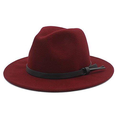 HUILIAN HATS Cappello alla Moda, Cappello Invernale Lana Panama Fedora Uomo con Nastro in Pelle dai Stile alla Tua Vita (Colore : 2, Taglia : 57-58cm)