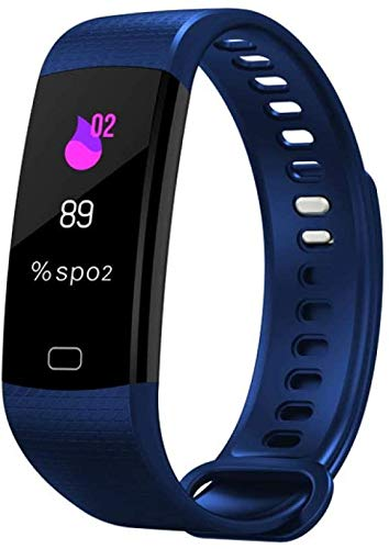 Fitness Vrouwen Mannen Smart polsbandje Bluetooth hartslag Bloeddruk stappenteller Clock LED Sport Bracelet Watch, Lichtblauw LQH (Color : Blue)