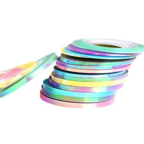 Beaupretty 18 Rouleaux Multicolore Couleurs Mixtes Rouleaux Nail Art Bande De Bande Ligne Nail Art Décoration Autocollant DIY Nail Tip