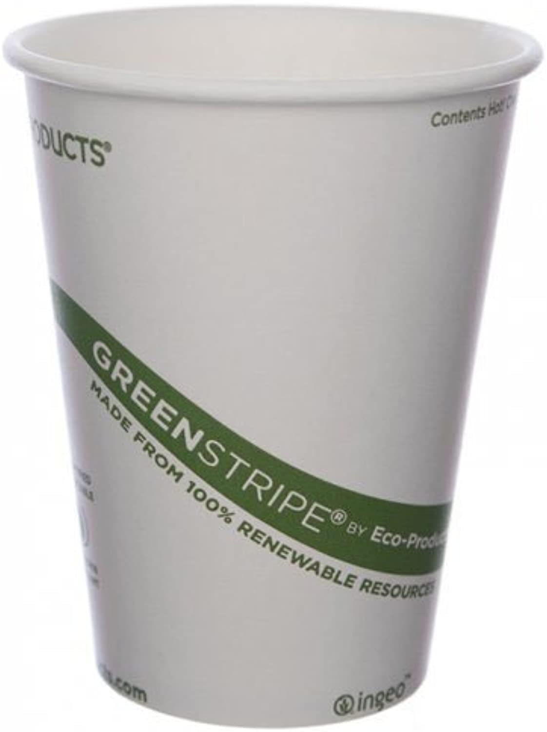 Eco-Products GreenStripe Renewable & Compostable Hot Cups, 12 oz, Case of 1000 (EP-BHC12-GS)