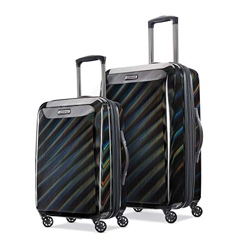 American Tourister Moonlight Hardside Expandable Luggage with Spinner Wheels, Iridescent Black, 2-Piece Set (21/24)