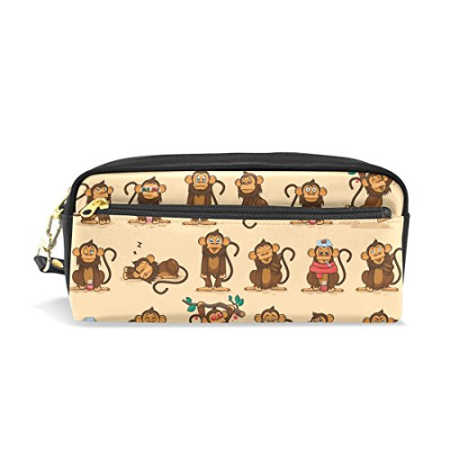 jstel Character Cartoon Mono emoticonos escuela lápiz bolsa para bebés de los niños Niños Adolescentes soporte para bolígrafos de maquillaje bolsa mujer duradera gran capacidad bolsa de papelería